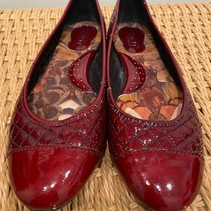 Born red patent quilted flats
